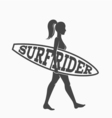 Woman goes surfing with surfboard Surf rider logo
