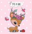 woodland deer with flowers and butterflies on a vector image vector image