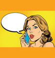 worried woman talking on the smartphone vector image vector image