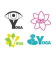yoga logo design template with eye man silhouette vector image