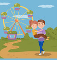 young man carrying woman on hands happy couple vector image vector image