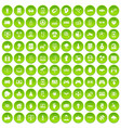 100 hi-tech icons set green vector image vector image