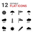 12 meteorology icons vector image vector image