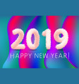 2019 happy new year paper craft holiday colorful vector image