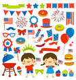 4th july clip art set vector image
