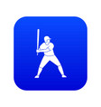 baseball player with bat icon digital blue vector image