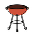 bbq grill front view watercolor silhouette vector image vector image