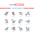 bird species - modern line design style icons set vector image