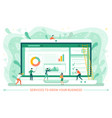 business and worker monitor laptop web vector image