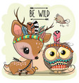 cartoon tribal deer and owl with feathers vector image