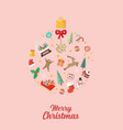 christmas elements laid out in shape a vector image vector image