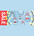 christmas sale banner with festive balls vector image
