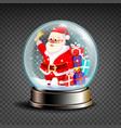 christmas snowglobe santa claus ringing vector image vector image