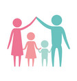 color silhouette set pictogram parents holding vector image vector image