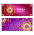 colored horizontal banners with oriental motifs vector image vector image