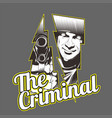 criminalman holding gun hand drawingshirt designs vector image