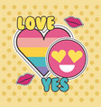 cute patches badge love yes heart smile fashion vector image vector image