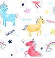 cute unicorn and magic icons seamless pattern vector image vector image