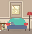 Empty Couch With Bookcase In Front Of Window vector image vector image