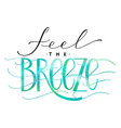 feel the breeze lettering vector image