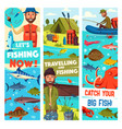 fishing travel sport and fish catch banners vector image vector image