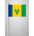 Flag Saint Vincent and the Grenadines on Flagpole vector image vector image
