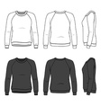 Front back and side views of blank sweatshirt vector image vector image