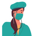 girl medical worker in surgical mask green hat vector image