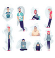 group depressed people sad man and woman in vector image