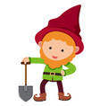 happy dwarf with red hat and spade vector image