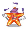 juggling underwater sea in the starfish mascot vector image