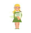 kid girl hugging chicken with love - flat cartoon vector image
