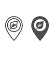 map pointer with leaf line and glyph icon sprout vector image