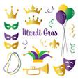 mardi gras celebration icons vector image