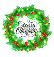 merry christmas greeting card holy and fir or vector image