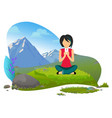 mountains hiking traveling and tourism woman vector image