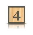 number 4 wooden alphabet block vector image vector image