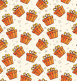 pattern of many red gift boxes with bows on light vector image