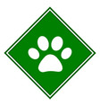 paw on green icon symbol sign vector image vector image
