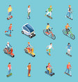 personal eco transportation icons set vector image vector image