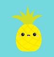 pineapple fruit icon leaf cute cartoon kawaii vector image