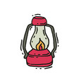 pink vintage lantern with glowing fire wick in vector image