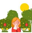 pollen allergy sneezing girl in spring nature vector image vector image