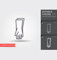 protective rubber gloves line icon with editable vector image