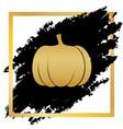 pumpkin sign golden icon at black spot vector image vector image