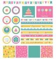 set birthday design elements vector image vector image