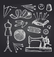 set hand drawn sewing elements on black vector image vector image