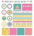 Set of birthday design elements vector image