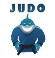 Shark judo fighter in kimono vector image vector image