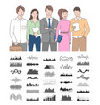 smiling workers holding documents chart vector image vector image